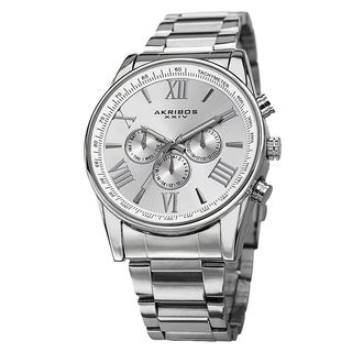 Akribos XXIV Men's Multifunction Tachymeter Stainless Steel Silver-Tone Bracelet Watch