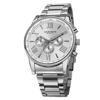 Akribos XXIV Men's Multifunction Tachymeter Stainless Steel Silver-Tone Bracelet Watch|https://ak1.ostkcdn.com/images/products/8949460/P16161337.jpg?impolicy=medium