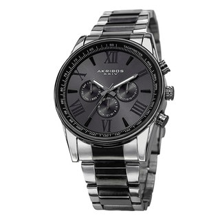 Akribos XXIV Men's Multifunction Tachymeter Stainless Steel Two-Tone Bracelet Watch with Gift Box - Black