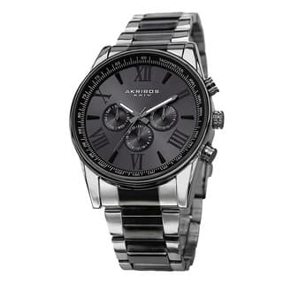 Akribos XXIV Men's Multifunction Tachymeter Stainless Steel Two-Tone Bracelet Watch with FREE GIFT - Black|https://ak1.ostkcdn.com/images/products/8949461/P16161338.jpg?impolicy=medium