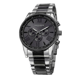 Akribos XXIV Men's Multifunction Tachymeter Stainless Steel Two-Tone Bracelet Watch with FREE GIFT - Black
