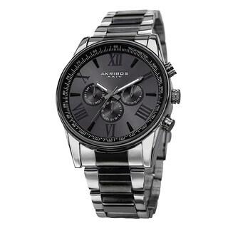 Akribos XXIV Men's Multifunction Tachymeter Stainless Steel Two-Tone Bracelet Watch - black