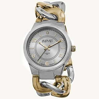 August Steiner Women's Swiss Quartz Diamond Chain Link Two-Tone Bracelet Watch