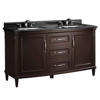 OVE Decors Rose 60-inch Double Sink Black Granite Top Bathroom Vanity