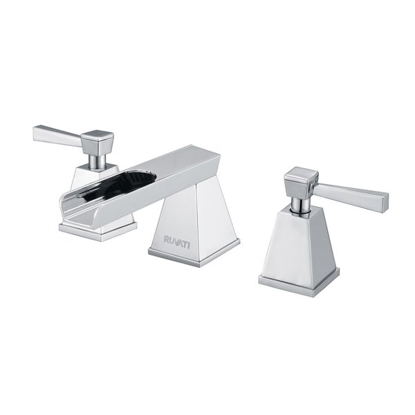 Ruvati polished chrome waterfall two handle 8 15 inch for Bathroom 8 inch spread faucets