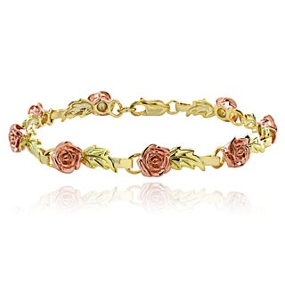 Mondevio Tri-toneGoldplated Sterling Silver Roses and Leaves Link Bracelet