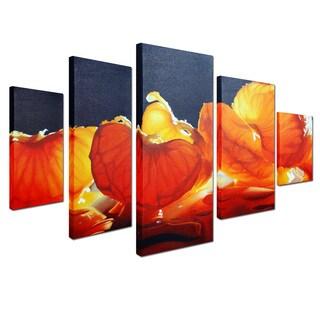 Cecile Bard 'Mandarin Orange' 5-piece Canvas Art
