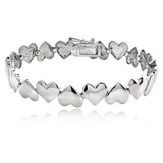 Mondevio Sterling Silver Polished Hearts Link Bracelet