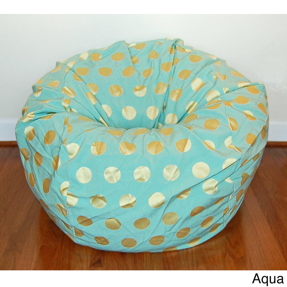 Products Delightful Dots Tan Washable Kid Bean Bag Chair Plush Ahh