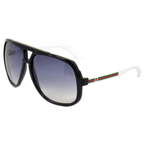 85e1e8e0b2a Shop Gucci Unisex  GG 1622 S OVF  Black  White Aviator Sunglasses ...