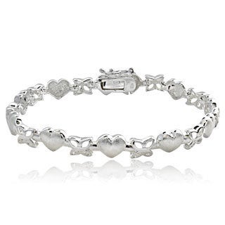 Mondevio Sterling Silver Hearts And Butterflies Link Bracelet