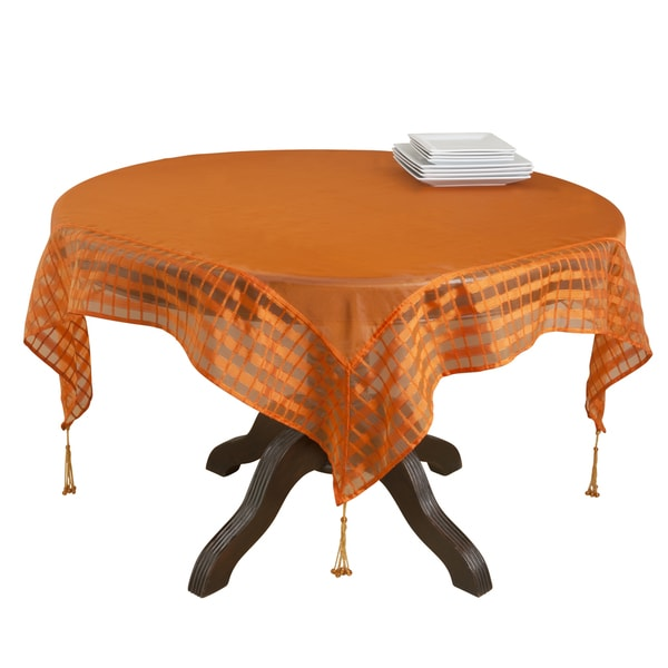 Marvelous Sheer Terracotta Orange Tablecloth (80x80)
