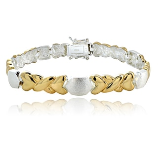 Mondevio Two-tone 'X' and Hearts Link Bracelet