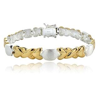 Mondevio Two-tone 'X' and Hearts Link Bracelet