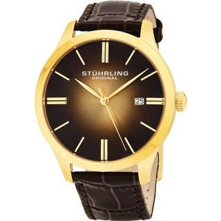 Stuhrling Original Men's Cuvette 2 Swiss Quartz Leather Strap Watch
