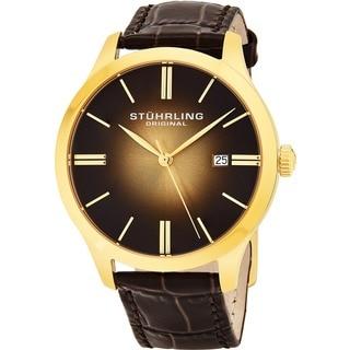 Stuhrling Original Men's Cuvette 2 Swiss Quartz Leather Strap Watch