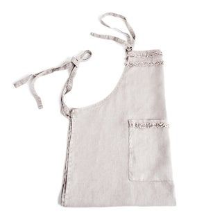 Fringed Design Linen Apron