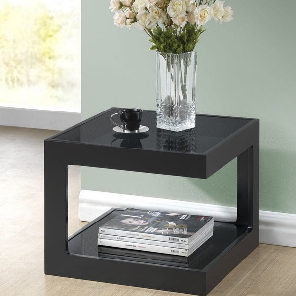 Baxton Studio Clara Black Modern End Table With 2 Glass