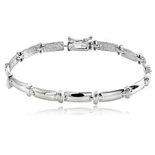 Mondevio Sterling Silver Polished 'X' Link Bracelet