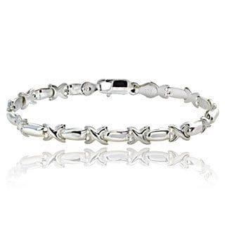 Mondevio Sterling Silver Curved 'X' and Bar Link Bracelet