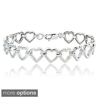 Mondevio Sterling Silver Open Hearts Link Bracelet
