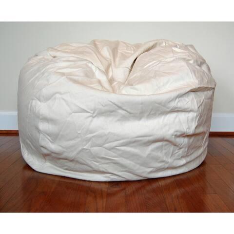 Cream Cotton Twill 36-inch Washable Bean Bag Chair