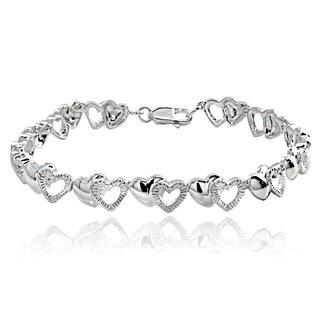 Link to Mondevio Sterling Silver Double Hearts Link Bracelet Similar Items in Bracelets