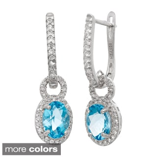 Gioelli Sterling Silver Gemstone and Created White Sapphire Accent Latchback Earrings
