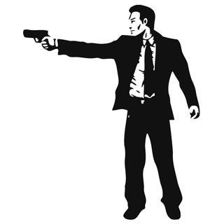 Man with Suit and Gun Vinyl Wall Art Decal