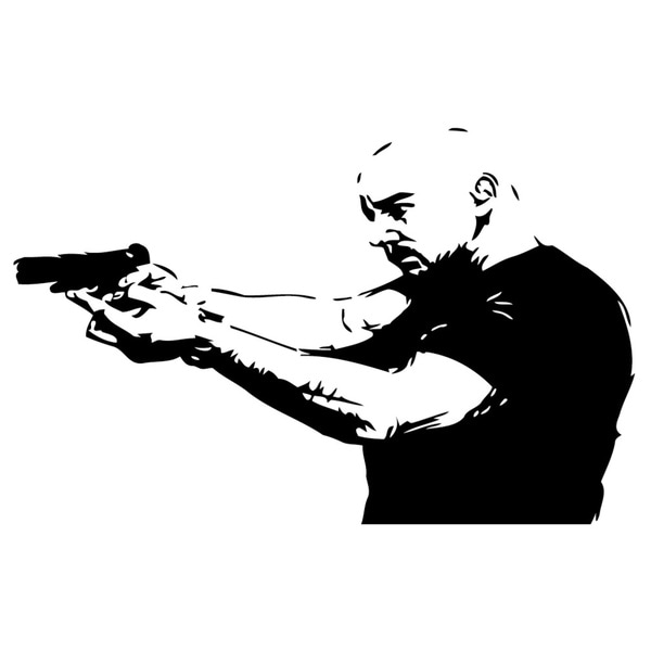 Bald Man with Gun Vinyl Wall Art Decal
