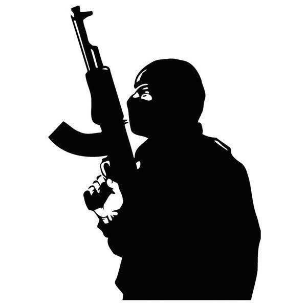 Shop Man With Gun And Balaclava Vinyl Wall Art Decal