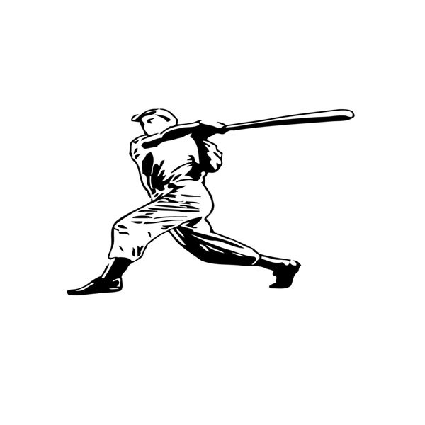 Swinging Baseball Player Game Vinyl Wall Art Decal