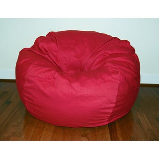 Wide Red Cotton Twill 36-inch Washable Bean Bag Chair - 36