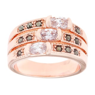 City by City Rose Goldtone Marcasite/ Cubic Zirconia Fashion Ring