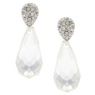 City by City Silvertone 'Fireball' Crystal Teardrop Dangle Earrings