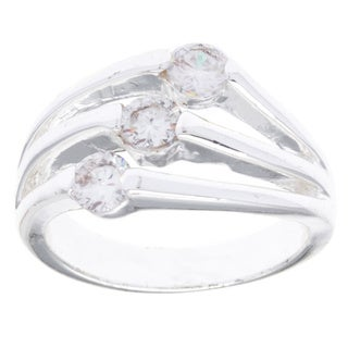City by City Silvertone 3-stone Cubic Zirconia Fashion Ring