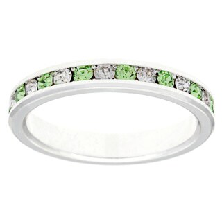 City by City Silvertone Green/ White Crystal Eternity Band