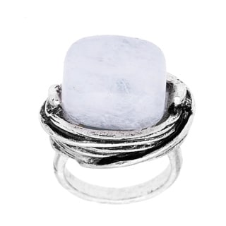City by City Silvertone White Stone Fashion Ring