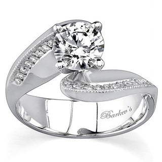 Barkev 14k White Gold 7/8ct Diamond Designer Bypass Engagement Ring