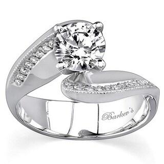 Barkev 14k White Gold 7/8ct Diamond Designer Bypass Engagement Ring (Option: 4.75)