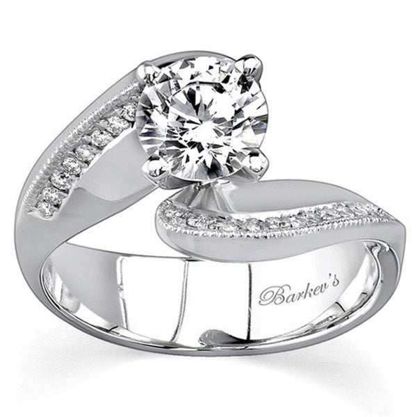91a0c234f Shop Barkev 14k White Gold 7/8ct Diamond Designer Bypass Engagement ...