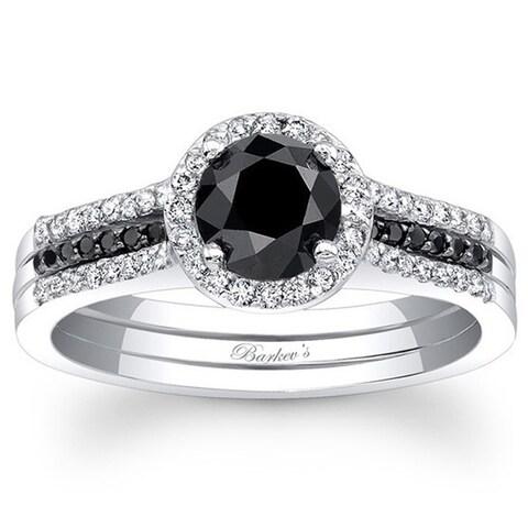 Barkev 14-k White Gold 7/8ct TDW Black/ White Diamond Engagement Ring