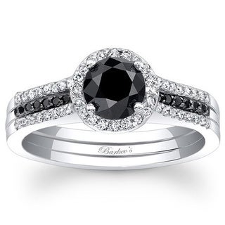 Barkev 14-k White Gold 7/8ct TDW Black/ White Diamond Engagement Ring