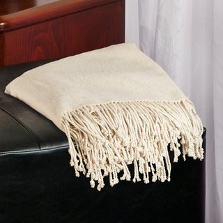 Aus Vio Mulberry Silk Throw with Tassels