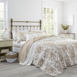 Laura Ashley Bedford Mocha Cotton 3-piece Quilt Set