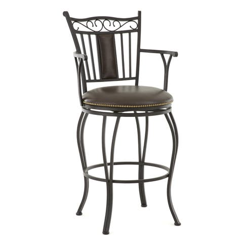 Berkshire 24 or 30-inch Jumbo Metal Swivel Stool with Arms by Greyson Living