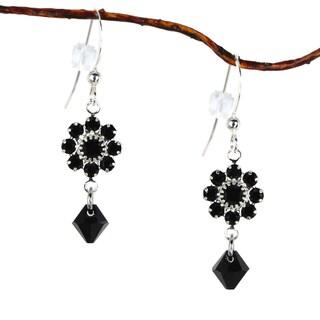 Handmade Jewelry by Dawn Black Crystal Flower Dangle Earrings (USA)