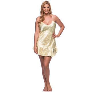 'Romance Selections' Shiny Charmeuse Jacquard Chemise with Scalloped Lace Trim