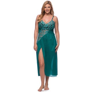 'Romance Selections' Long Gown with Side-Slit/ Two-tone Lace Trim|https://ak1.ostkcdn.com/images/products/8950249/P16161951.jpg?impolicy=medium