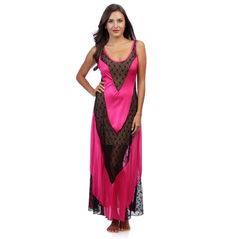 Romance Selections Women's Long Gown with Inset Lace Panels